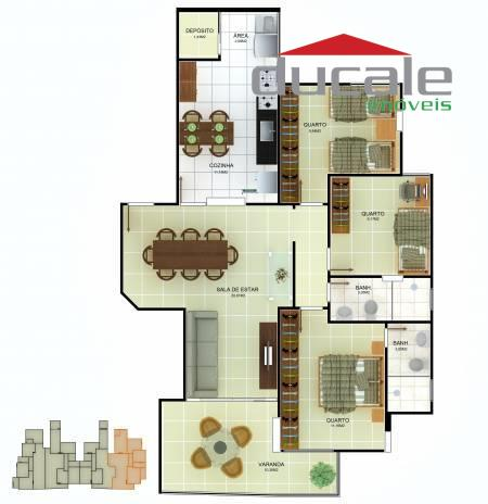 Apartamento  3 quartos suíte Blank Villle à venda, Jardim Camburi, Vitória. - AP0033