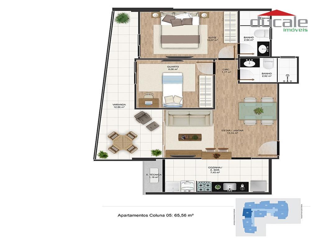 Apartamento à venda Residencial José Daher Carneiro Jardim da Penha Vitoria ES, Jardim da Penha, Vitória. - AP0045