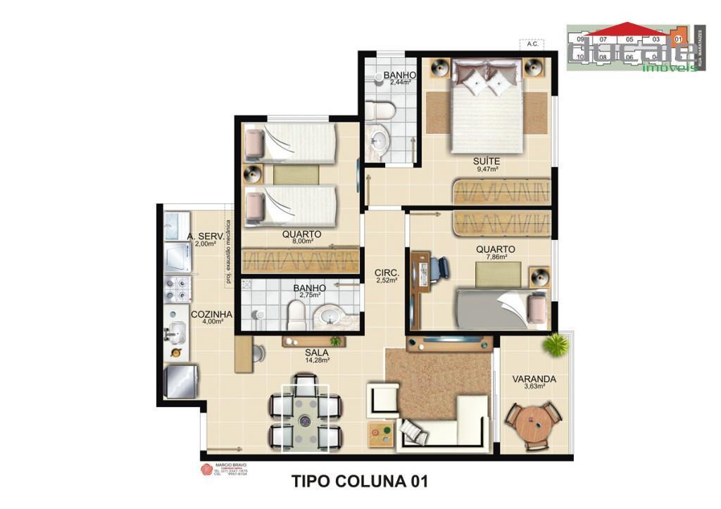 Apartamento  3 quartos Pacífico Residencial Clube à venda, Valparaíso, Serra ES - AP0037