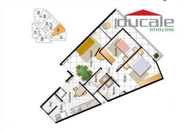 Apartamento Ilha do Farol 2 quartos 1 suite  à venda, Jardim Camburi, Vitória. - AP0034