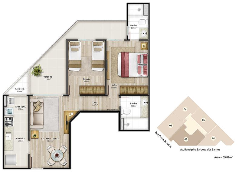 Apartamento no Ed. Modigliani, Jardim Camburi em Vitória - 4481559