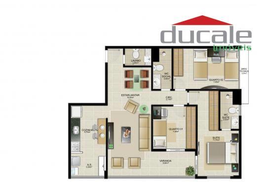Edifício San Paolo  Apartamento 3 quartos residencial à venda, Jardim Camburi, Vitória. - AP0055